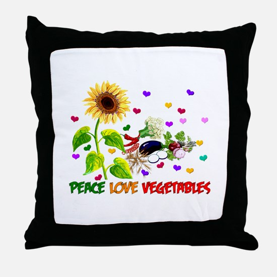 Peace Love Vegetables Throw Pillow
