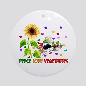Peace Love Vegetables Ornament (Round)
