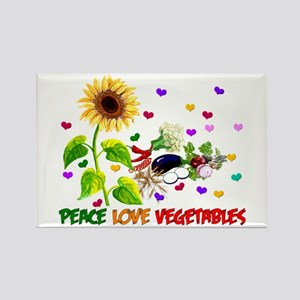 Peace Love Vegetables Rectangle Magnet