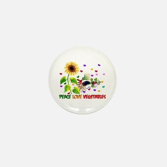 Peace Love Vegetables Mini Button