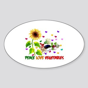 Peace Love Vegetables Sticker (Oval)