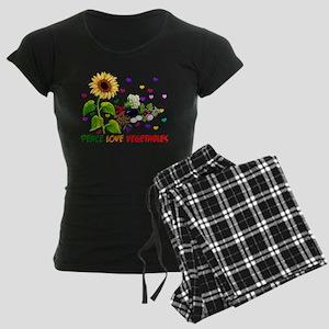 Peace Love Vegetables Women's Dark Pajamas
