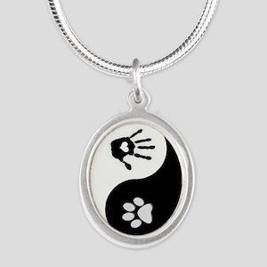Dog Human Paw Print Yin Yang Oval Necklace