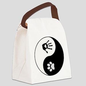 Dog Human Paw Print Yin Yang Canvas Lunch Bag