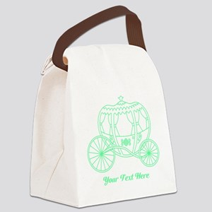 Green Carriage, Custom Text. Canvas Lunch Bag
