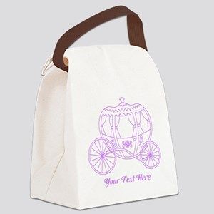 Purple Carriage, Custom Text. Canvas Lunch Bag