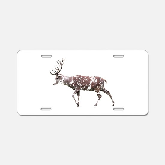 Grungy Style Deer Stag. Aluminum License Plate