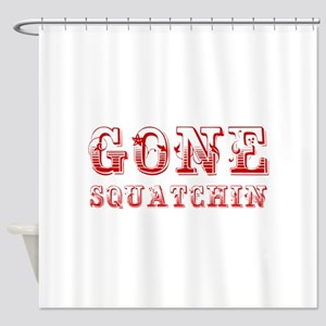 gone-squatchin-max-brown Shower Curtain