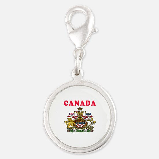 Canada Coat Of Arms Designs Silver Round Charm