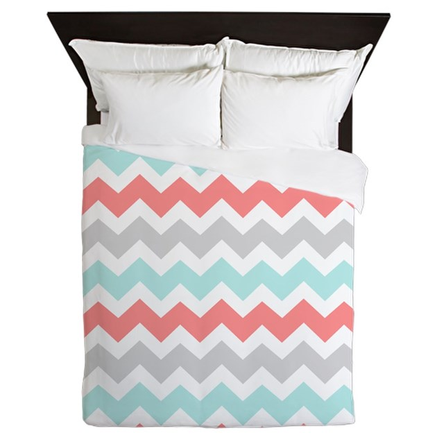 Coral Aqua Grey Chevron Stripesqueen Duvet By