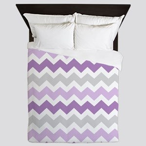 Purple Grey White Chevron Stripes Queen Duvet