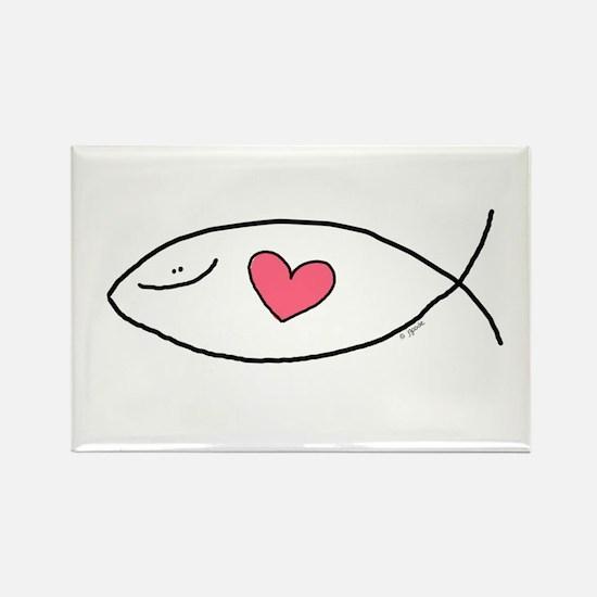 The Jesus Love Fish Rectangle Magnet
