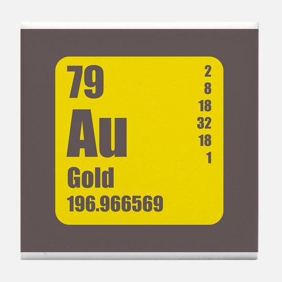 Periodic Table Of Element's Au GOLD Tile Coaster