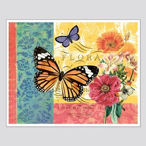 Modern vintage French butterfly and floral Posters