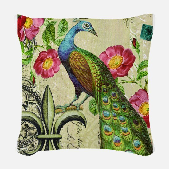 Vintage French peacock and floral collage Woven Th