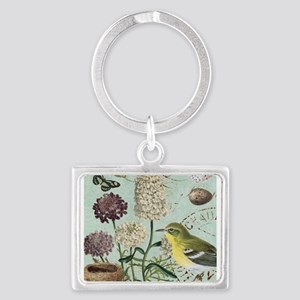 Vintage French bird and nest Keychains