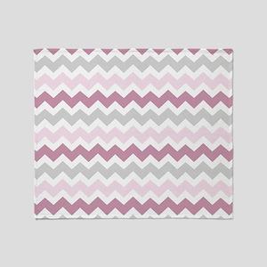 Pink Grey White Chevron Stripes Throw Blanket
