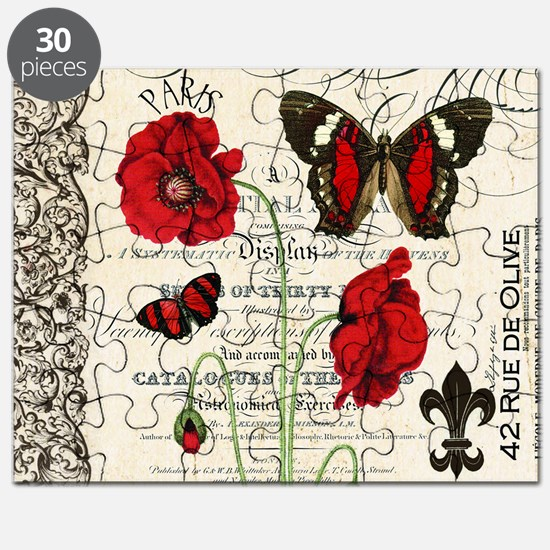 Vintage French red poppies collage Puzzle