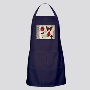 Vintage French red poppies collage Apron (dark)