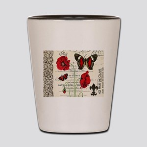 Vintage French red poppies collage Shot Glass