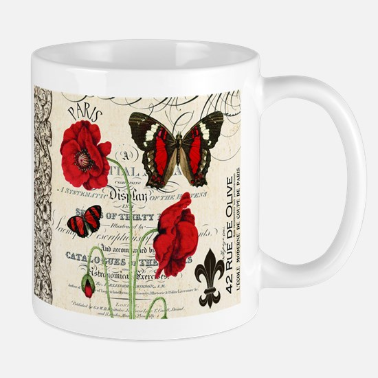 Vintage French red poppies collage Mug