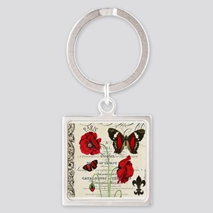 Vintage French red poppies collage Keychains