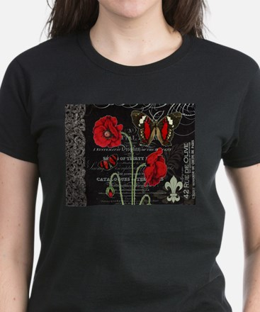 Vintage French red poppies collage T-Shirt