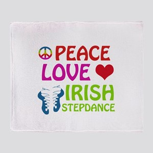 Peace Love Irish Stepdance Throw Blanket