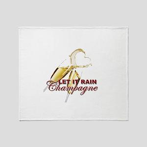 Let It Rain Champagne Throw Blanket