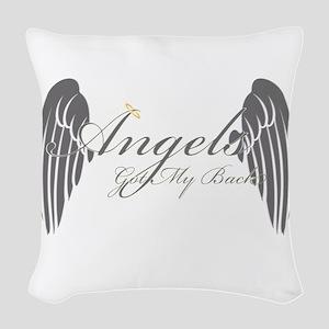 Angels Got My Back Woven Throw Pillow