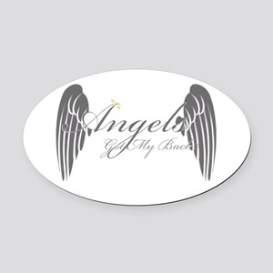 Angels Got My Back Oval Car Magnet