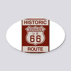 Winslow Historic Route 66 Oval Car Magnet
