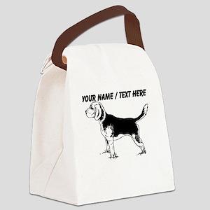Custom Beagle Puppy Sketch Canvas Lunch Bag