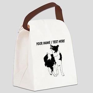 Custom Border Collie Sketch Canvas Lunch Bag