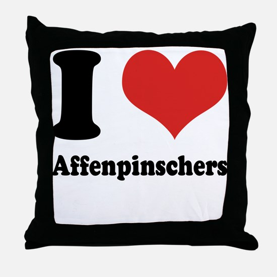 I Heart Affenpinschers Throw Pillow
