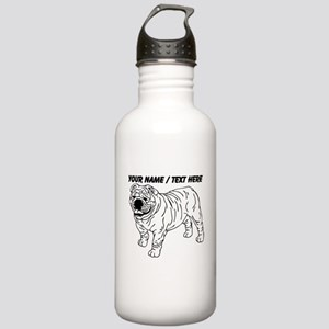 Custom Bulldog Sketch Water Bottle
