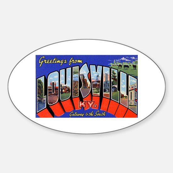 Louisville Kentucky Greetings Oval Decal