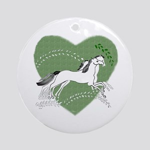 horse Round Ornamentgalloping horses grn heart