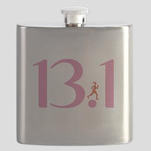 13.1 Half Marathon Runner Girl Flask