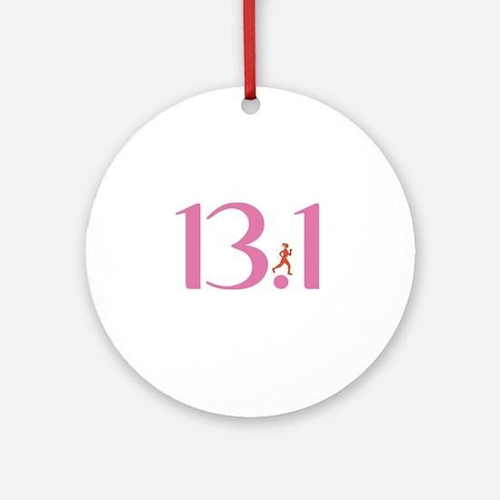 13.1 Half Marathon Runner Girl Ornament (Round)