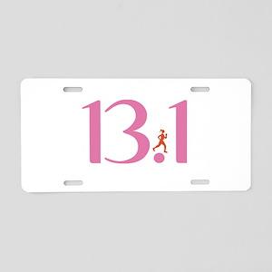 13.1 Half Marathon Runner Girl Aluminum License Pl