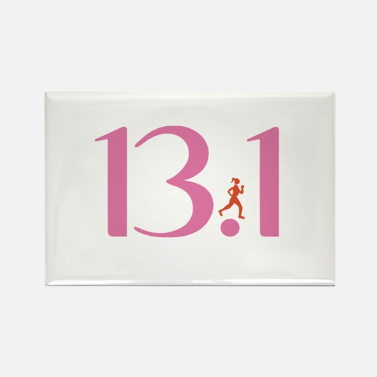 13.1 Half Marathon Runner Girl Rectangle Magnet