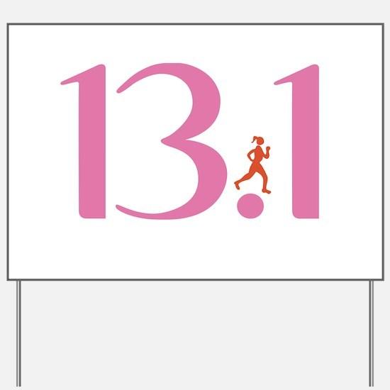 13.1 Half Marathon Runner Girl Yard Sign