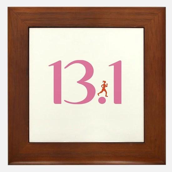 13.1 Half Marathon Runner Girl Framed Tile