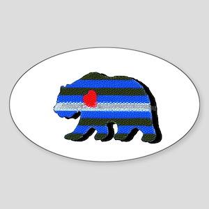LEATHER BEAR/BLACK SHADOW Oval Sticker
