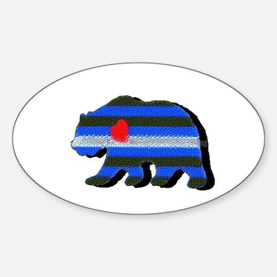 LEATHER BEAR/BLACK SHADOW Oval Decal
