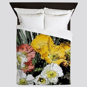 cartoon poppies Queen Duvet