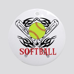 Softball Tribal Ornament (Round)