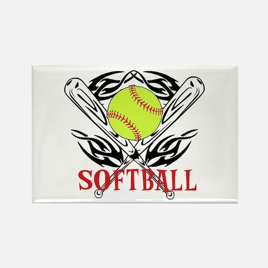 Softball Tribal Rectangle Magnet