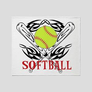 Softball Tribal Throw Blanket